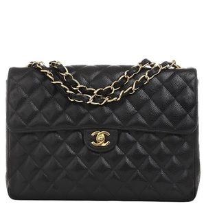 Authentic Chanel Classic Jumbo Flap Bag Caviar GHW